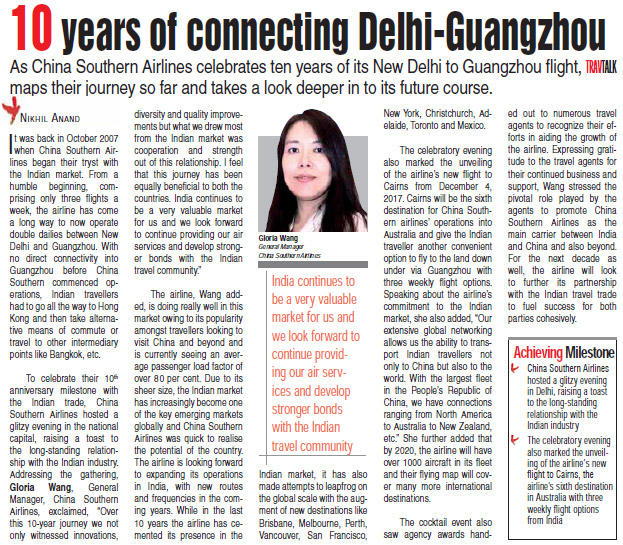 10 years of connecting Delhi-Guangzhou